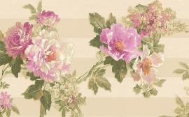 breed behangrand bloemen paars rose goud xxl