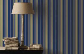 blauw goud strepen behang  546521
