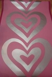 roze zilver hartjes meisjes lambrisering behang 53