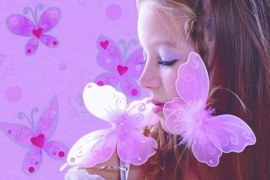 Noordwand Les Aventures 12106203 meisjes behang vlinders dieren