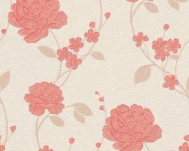 Rood Bloemen behang glitter 36701-1