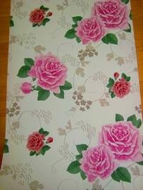 bloemen behang rood roze groen 50