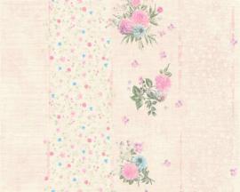 roze bloemen strepen behang  35878-1