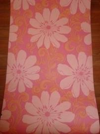 meisjes behang grote roze bloemen trendy behang