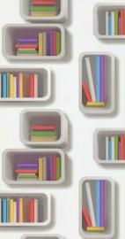 Noordwand Les Aventures 51135302 gekleurde boekenkast behang