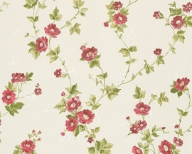 Behang Bloemen wit rood AS Romantica 30428-4