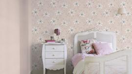 Beige wit bloemen behang rasch 897722