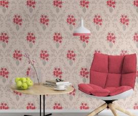 rood bloemen vinyl trendy behang 313744