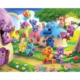 Walltastic - The Button Bears blauw paars geel beer fotowand