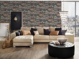 Steen behang bruin taupe 36281-1