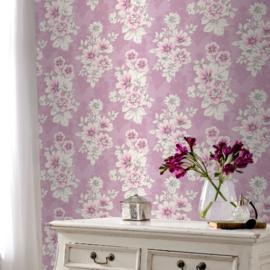 Paars bloemen behang 209501
