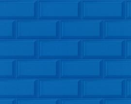 879943 blauw steenstrips steen tegel behang