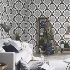 Barok behang zwart wit glitter xxx123