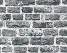 Steen behang grijs voelbaar relief 36140-4