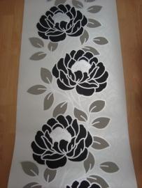 zwart wit zilver bloemen behang 05