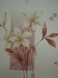 creme bruin modern bloemen  vinyl behang 14