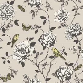 vogel glitter bloemen behang 204315