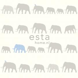 Esta Giggle 137331 blauw grijs olifanten behang