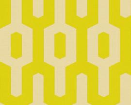 Groen/geel retro behang 34124-4