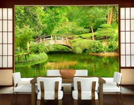 """Fotobehang natuur groen Bos No.200 """"LAKE VIEW"""