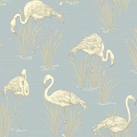 Lagune Flamingo behang blauw Arthouse 252605