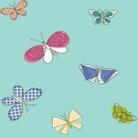 York Girl Power II Butterfly behang PW4017 , blauw, groen, geel, roze, wit