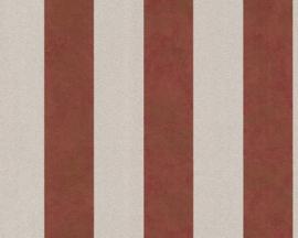 Rood strepen behang  vintage metalic xxx321