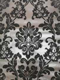 zwart zilver barok behang metalic glitter  x6x6