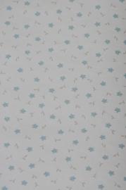 Lief bloemetjes Papier behang blauw wit 24976