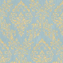 blauw goud barok textiel behang glitter 30659-5