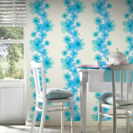 Blauw bloemen behang 34272-5