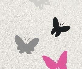 Rasch Kids Club 511314 Vlinders behang wit grijs zwart roze