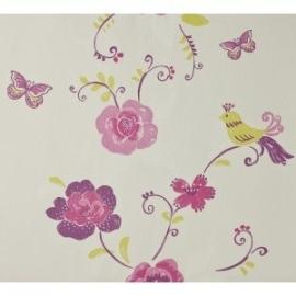 bloemen behang met vogel en vlinders wit , roze , paars , geel
