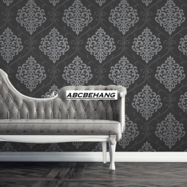 barok glitter behang zwart zilver 020718