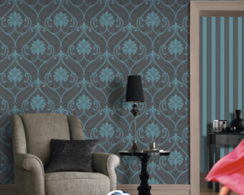 blauw barok behang vlies 933819