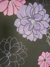 zwart paars combi modern bloemen behang 143