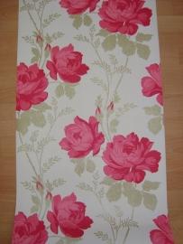 rood bloemen vinyl behang fd14914