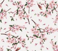Roze bloemen vogel tafelzeil 388801