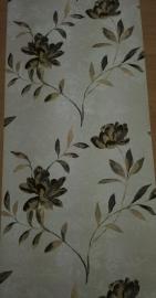bloemen vinyl behang zwart creme goud  xv