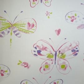 Noordwand Les Aventures 51138203 retro vlinders meisjes behang