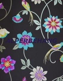 zwart paars bloemen vogels op behang 19