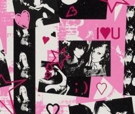 Rasch Kids Club 234404 best friends behang roze zwart