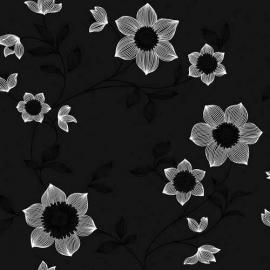 zwart wit goud bloemen vlies behang 61015-06