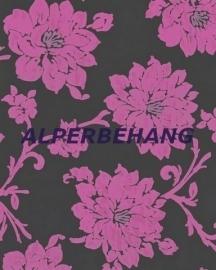 zwart roze bloemen 3d vlies behang  121