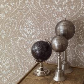 tribute 341372 behang barok ornamenten bruin taupe glitter