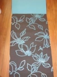 bloemen behang turquoise bruin 143