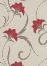 rood creme glitter bloemen behang Erismann 9727-06