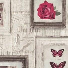 Lijstjes Behang J930-10 Bloemen vlinders