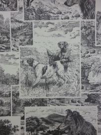 819809 speurhonden jachthonden zwart creme honden behang