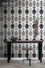 barok zwart wit grijs behang 935223